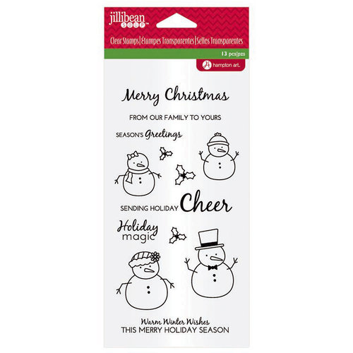 Jillibean Soup - Holiday Collection - Christmas - Clear Acrylic Stamps - Snowman Sentiments