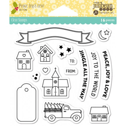 Jillibean Soup - Christmas - Clear Acrylic Stamps - Shape Shakers - Peace, Joy and Love