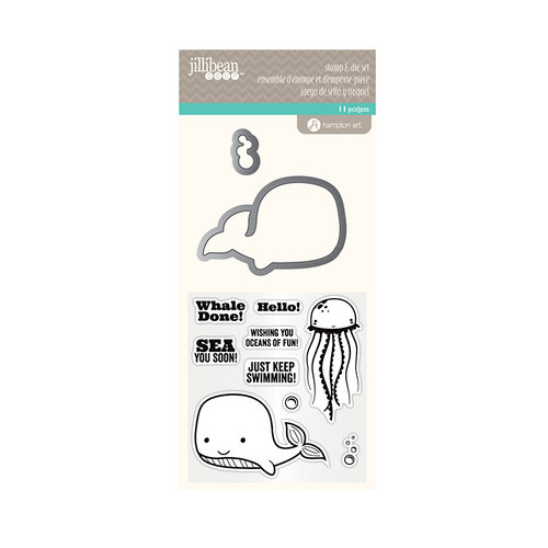 Jillibean Soup - Die and Clear Acrylic Stamp Set - Whale Done