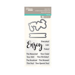 Jillibean Soup - Die and Clear Acrylic Stamp Set - Enjoy Sentiments