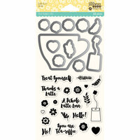 Jillibean Soup - Shaker Die and Clear Acrylic Stamp Set - Latte