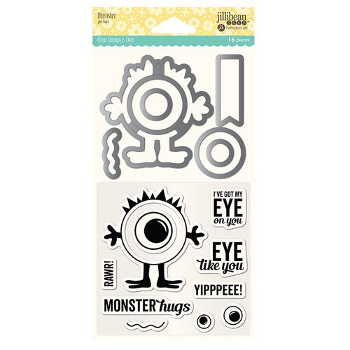 Jillibean Soup - Shaker Die and Clear Acrylic Stamp Set - Monster