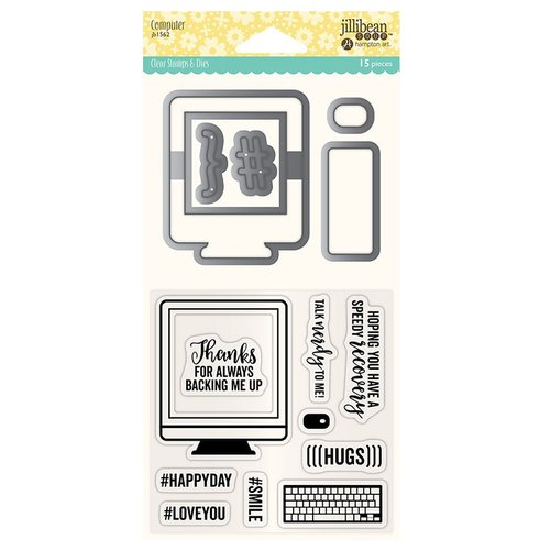 Jillibean Soup - Shaker Die and Clear Acrylic Stamp Set - Computer