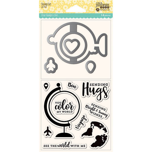 Jillibean Soup - Shaker Die and Clear Acrylic Stamp Set - Globe