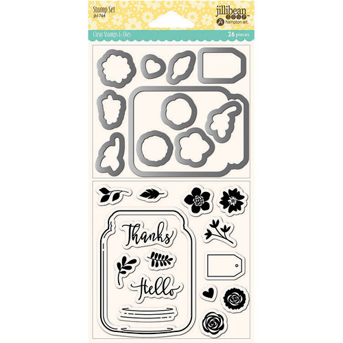 Jillibean Soup - Shaker Die and Clear Acrylic Stamp Set - Mason Jar