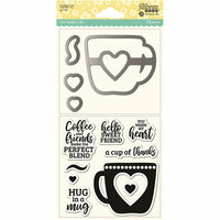 Jillibean Soup - Shaker Die and Clear Acrylic Stamp Set - Hug in a Mug