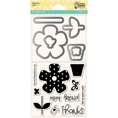 Jillibean Soup - Shaker Die and Clear Acrylic Stamp Set - Flower Thanks