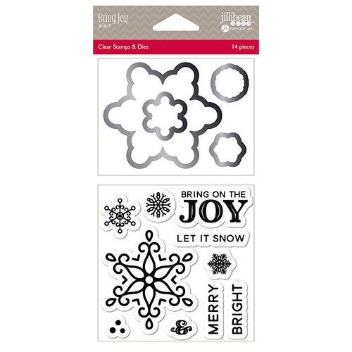 Jillibean Soup - Christmas - Shaker Die and Clear Acrylic Stamp Set - Bring Joy