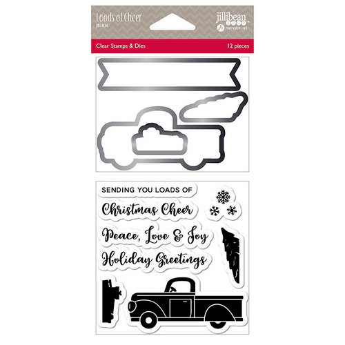 Jillibean Soup - Christmas - Shaker Die and Clear Acrylic Stamp Set - Loads Of Cheer
