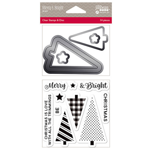 Jillibean Soup - Christmas - Shaker Die and Clear Acrylic Stamp Set - Merry and Bright