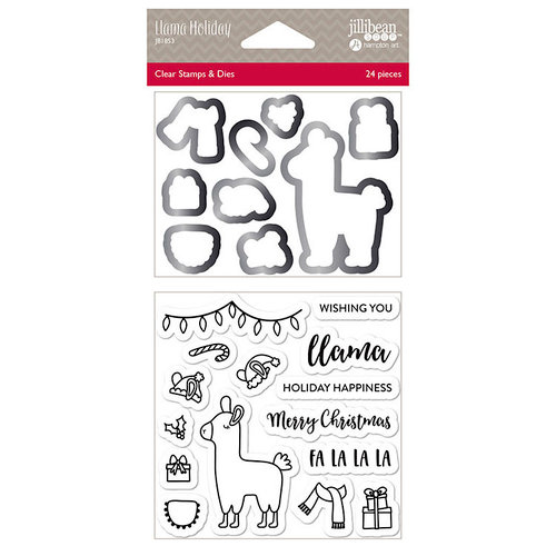 Jillibean Soup - Christmas - Shaker Die and Clear Acrylic Stamp Set - Llama Holiday