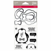 Jillibean Soup - Christmas - Shaker Die and Clear Acrylic Stamp Set - Penguin