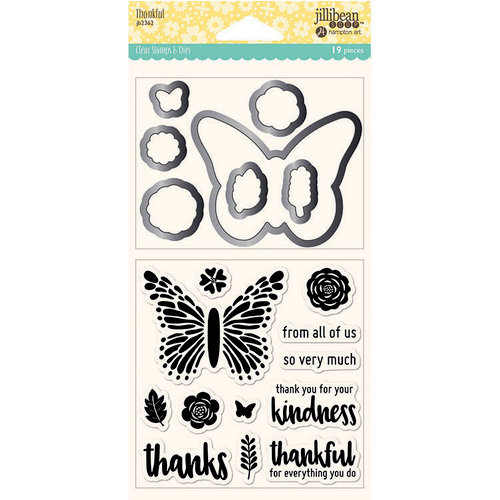 Jillibean Soup - Shaker Die and Clear Acrylic Stamp Set - Thankful