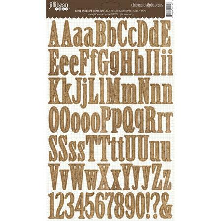 Jillibean Soup - Alphabeans Collection - Alphabet Chipboard Stickers - Burlap