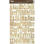 Jillibean Soup - Alphabeans Collection - Alphabet Chipboard Stickers - Newsprint