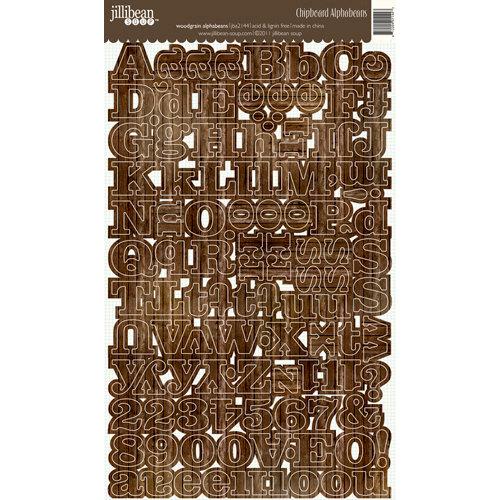 Jillibean Soup - Alphabeans Collection - Alphabet Chipboard Stickers - Dark Wood