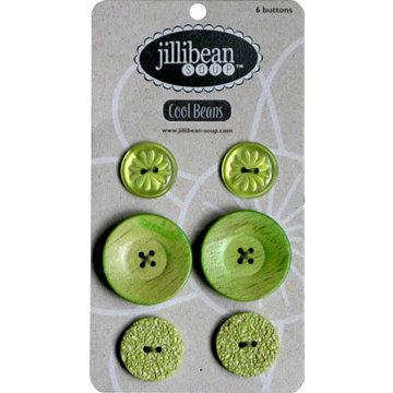 Jillibean Soup - Cool Beans Collection - Buttons - Green, CLEARANCE