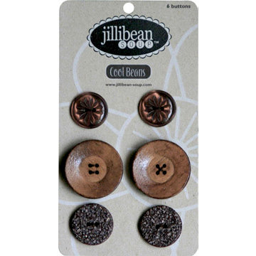 Jillibean Soup - Cool Beans Collection - Buttons - Brown, CLEARANCE