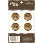 Jillibean Soup - Cool Beans - Wood Buttons - Etched Flowers