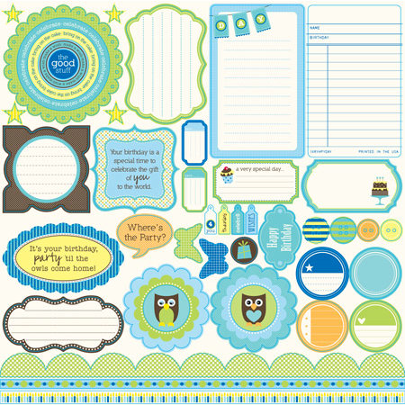 Jillibean Soup - Spotted Owl Soup Collection - Pea Pods - 12 x 12 Die Cut Paper - Shapes