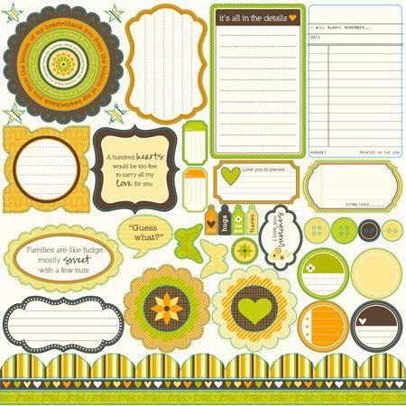 Jillibean Soup - Dutch Mustard Soup Collection - Pea Pods - 12 x 12 Die Cut Paper - Shapes