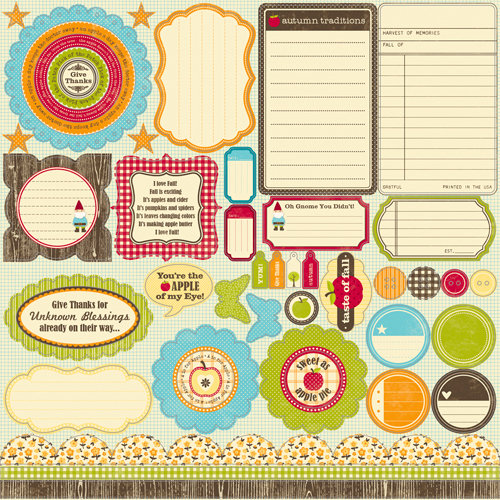 Jillibean Soup - Apple Cheddar Soup Collection - Pea Pods - 12 x 12 Die Cut Paper - Shapes