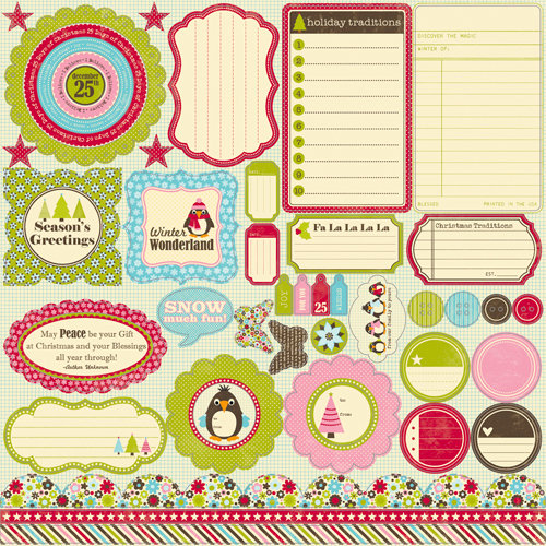 Jillibean Soup - Christmas Eve Chowder Collection - Pea Pods - 12 x 12 Die Cut Paper - Shapes