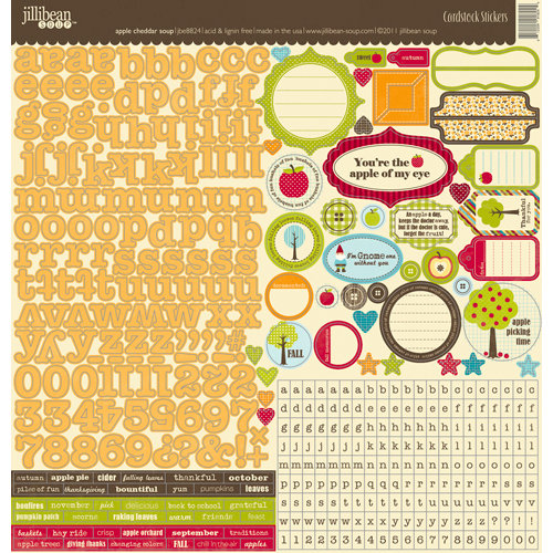 Jillibean Soup - Apple Cheddar Soup Collection - 12 x 12 Cardstock Stickers