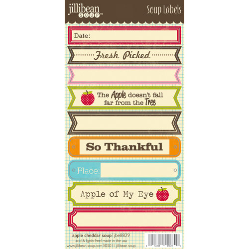 Jillibean Soup - Apple Cheddar Soup Collection - Cardstock Stickers - Soup Labels