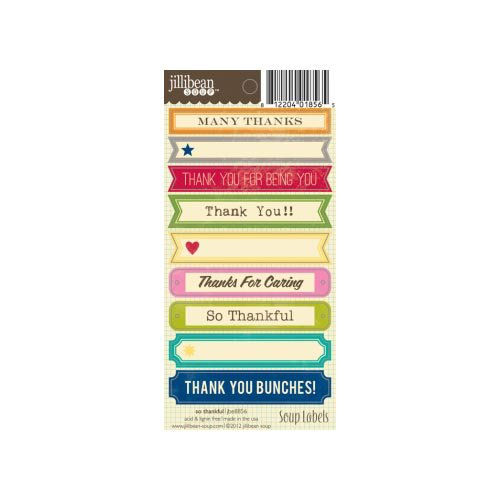 Jillibean Soup - Cardstock Stickers - Soup Labels - So Thankful