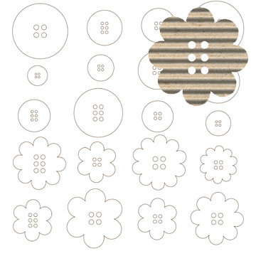 Jillibean Soup - Corrugated Shapes Collection - Buttons, CLEARANCE