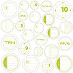 Jillibean Soup - Journaling Sprouts Collection - Mixed Cardstock Pieces - Circle Numbers Green, CLEARANCE