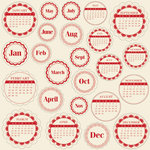 Jillibean Soup - Journaling Sprouts Collection - Mixed Cardstock Pieces - Circle Calendars Red, CLEARANCE