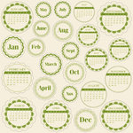 Jillibean Soup - Journaling Sprouts Collection - Mixed Cardstock Pieces - Circle Calendars Green, CLEARANCE