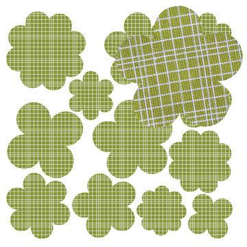 Jillibean Soup - Canvas Flowers - Green Grid