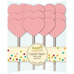 Jillibean Soup - Party Playground Collection - Cupcake Toppers - Cotton Candy Pink Heart