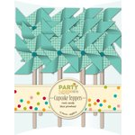 Jillibean Soup - Party Playground Collection - Cupcake Toppers - Rock Candy Blue Pinwheel