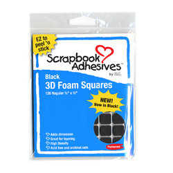 3L Scrapbook Adhesives - 3D Regular Foam Squares - Black, CLEARANCE