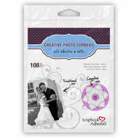3L - Scrapbook Adhesives - Photo Corners - Classic Style White - 108 per bag