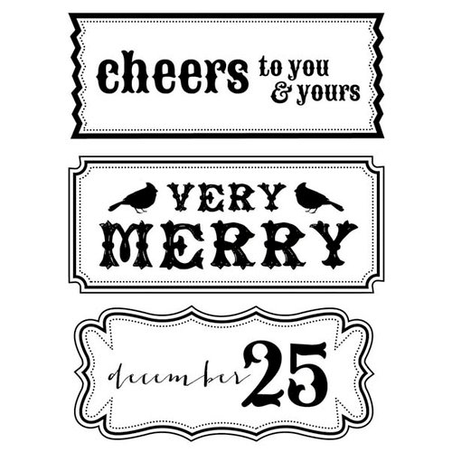 Kaisercraft - Holly Bright Collection - Christmas - Clear Acrylic Stamp - Cheers