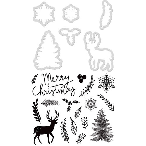 Kaisercraft - Christmas - Decorative Dies and Clear Acrylic Stamps - Merry Christmas