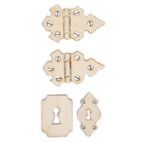 Kaisercraft - Flourishes - Die Cut Wood Pieces - Locks and Hinges