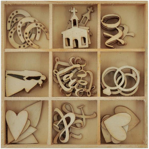 Kaisercraft - Always and Forever Collection - Flourishes - Die Cut Wood Pieces Pack - Wedding
