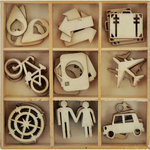 Kaisercraft - Just Landed Collection - Flourishes - Die Cut Wood Pieces Pack - Travel