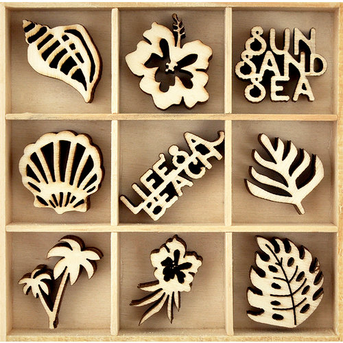 Kaisercraft - Flourishes - Die Cut Wood Pieces Pack - Life's a Beach