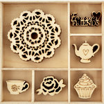 Kaisercraft - Flourishes - Die Cut Wood Pieces Pack - Tea Party