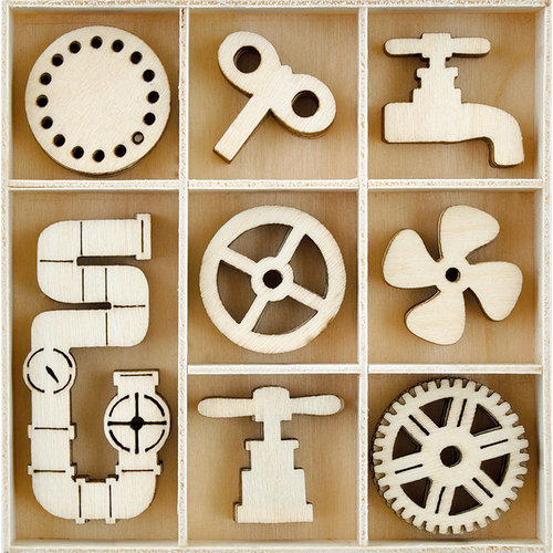 Kaisercraft - Factory 42 Collection - Flourishes - Die Cut Wood Pieces