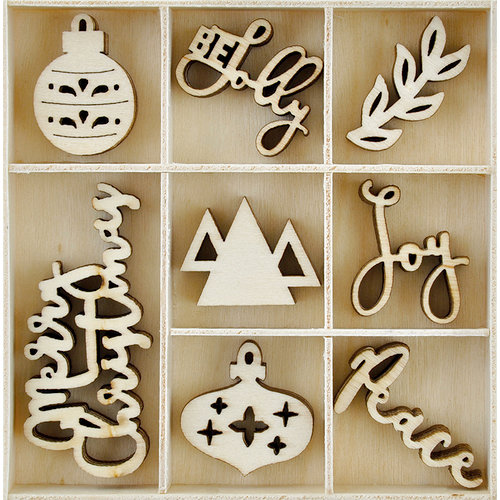 Kaisercraft - Mint Wishes Collection - Christmas - Flourishes - Die Cut Wood Pieces - Jolly Christmas