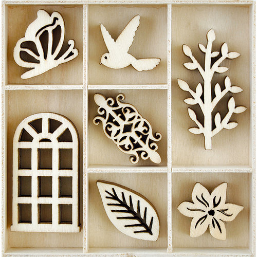 Kaisercraft - Rose Avenue Collection - Flourishes - Die Cut Wood Pieces - Secret Garden