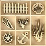 Kaisercraft - Beach Shack Collection - Die Cut Wood Pieces Pack - Beach